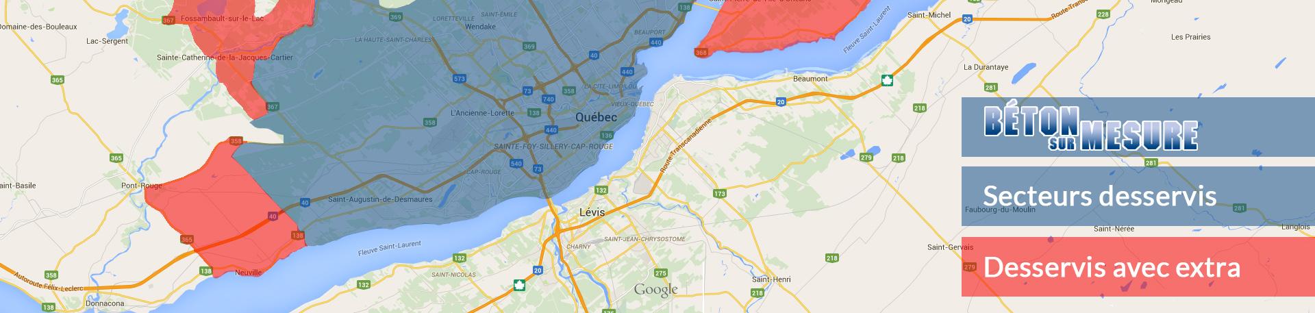 Livraison de béton à Québec : Carte des secteurs desservis