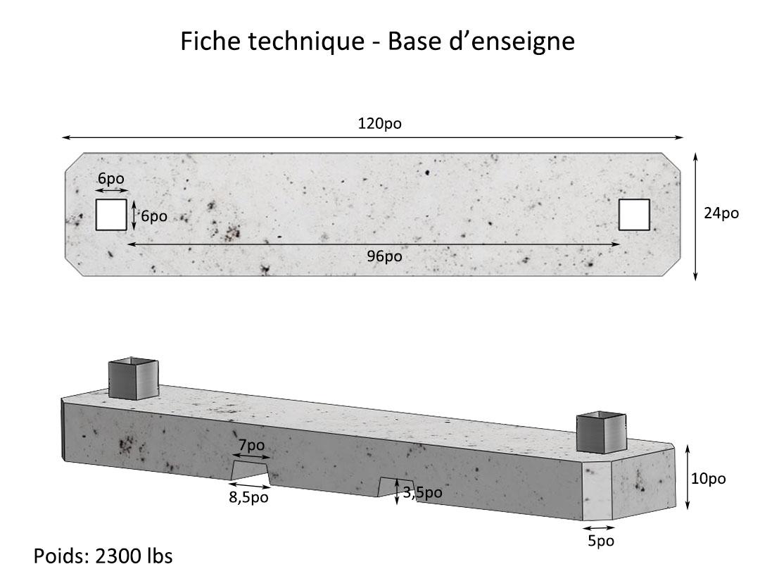 Fiche technique | base de béton préfabriqué pour affiche commercial